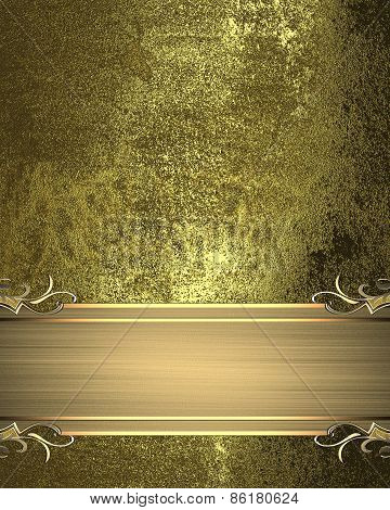 Gold Grunge Texture With Gold Ribbon With Patterns. Pattern For Decoration