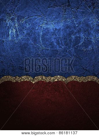 Abstract Template Of Red And Blue Texture With Gold Pattern