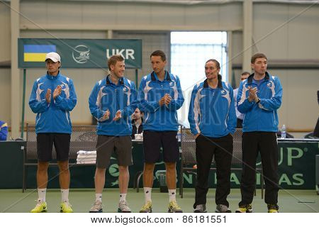 DNEPROPETROVSK, UKRAINE - APRIL 6, 2013: Ukrainian team before Davis Cup match against Sweden. Left to right: Denis Molchanov, Illya Marchenko, Sergey Stakhovsky, Alexander Dolgopolov, Mikhail Filima
