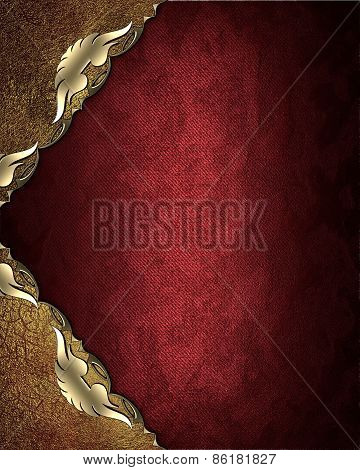 Abstract Template For Design. Red Background With Gold Patterned Angles