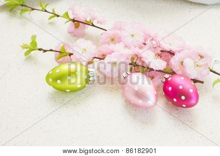 cherry blossoms with easter eggs