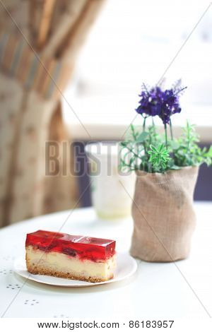 Piece Of Tasty Cake In Cafe