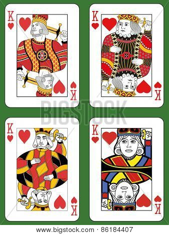 Four Kings of Hearts in four different styles on a green background