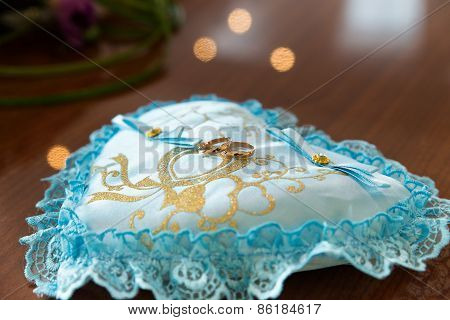 Ring Pillows On The Table