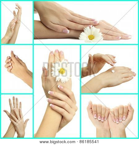 Hands with french manicure isolated on white in collage