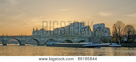 Seine river and Old Town of Paris (France)