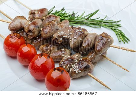 Grilled Chicken Hearts Barbecue