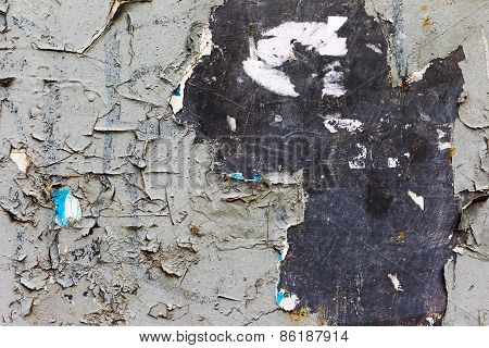 Abstract Creative Background Of Rusty Metal, Painted Gray Paint Carelessly With The Remnants Of Torn
