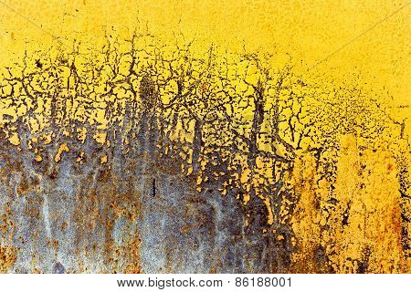 Creative Background Of Rusty Metal With Cracks And Scratches, Casually Painted Yellow. Grungy Metal