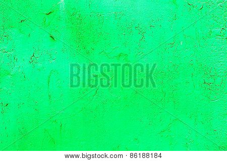Bright Abstract Background Old Metal Surface Sloppy Paint Green Paint With Highlights, Streaks, Scra