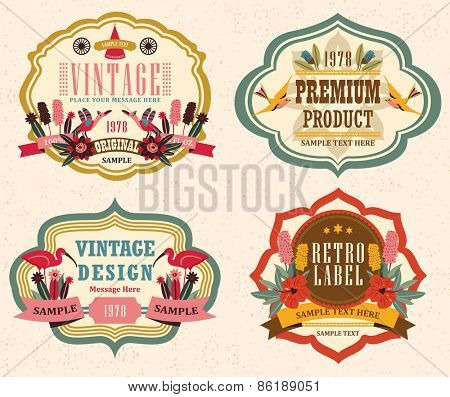 vintage labels with flower 3