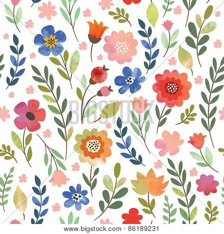floral seamless pattern, watercolor flowers