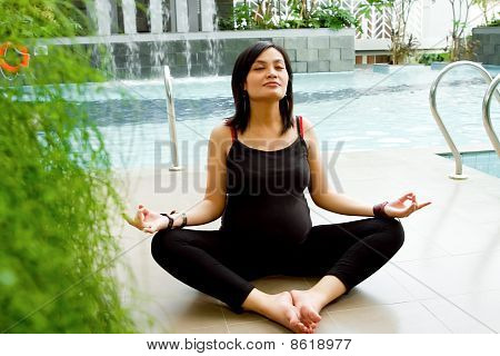 Asian Pregnant Woman Exercise Yoga