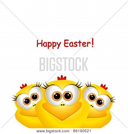 Easter Card With Funny Chickens