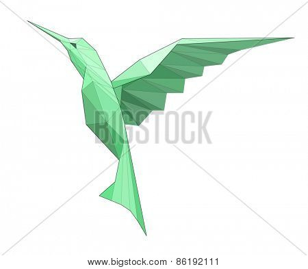 Kolibri. Low polygon linear vector illustration