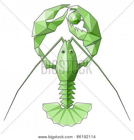 Lobster. Low polygon linear vector illustration
