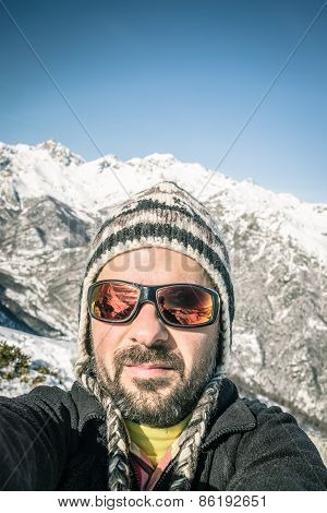 Alpin Skier Taking Selfie