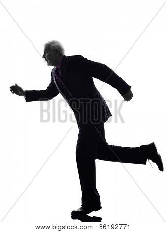 One Caucasian Senior Business Man running Silhouette White Background