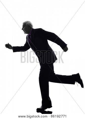 One Caucasian Senior Business Man running Silhouette White Background