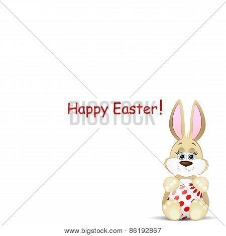 Easter Card With Funny Rabbit