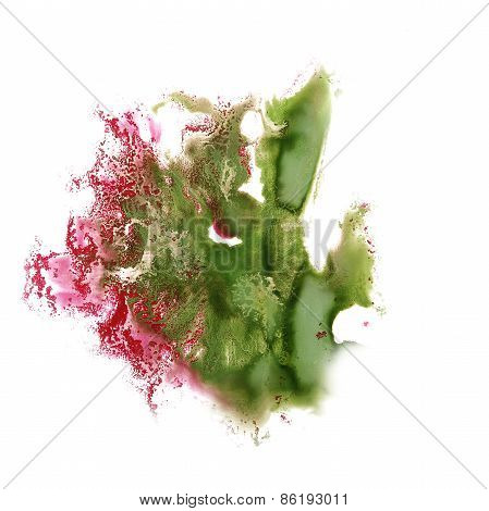 Abstract green,pink watercolor hand painted background insult Ro