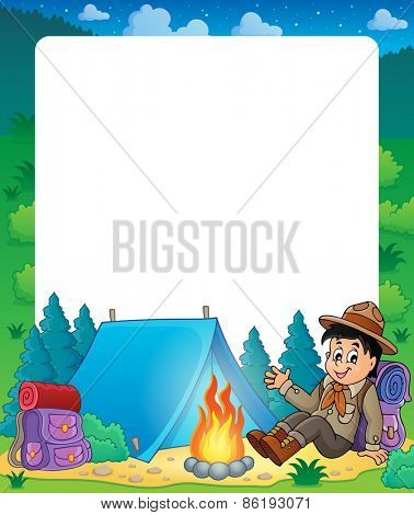 Summer frame with scout boy theme - eps10 vector illustration.