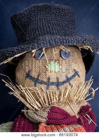Closeup of scarecrow head on dark blue background
