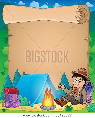 Parchment with scout boy theme - eps10 vector illustration.