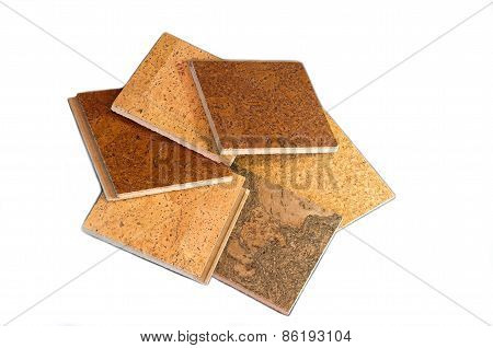 Cork Tiles Against White Background