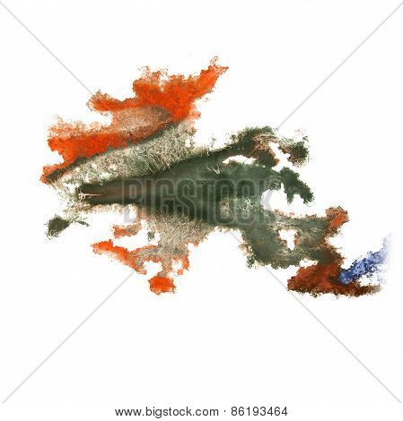 abstract hand green, orange drawn watercolor blot insult Rorscha