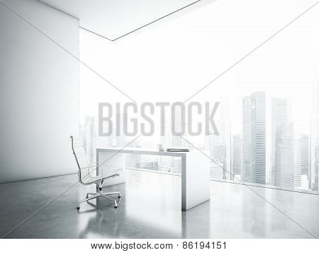 White Office With  Panoramic Window
