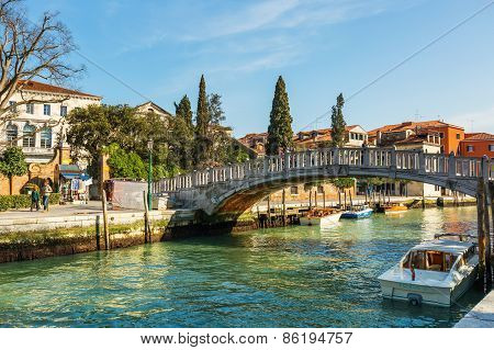 Venice, Italy - Mar 18 - Venice, Italy - Mar 18 - Riverside Near Piazzale Roma On Canal Grande On Ma