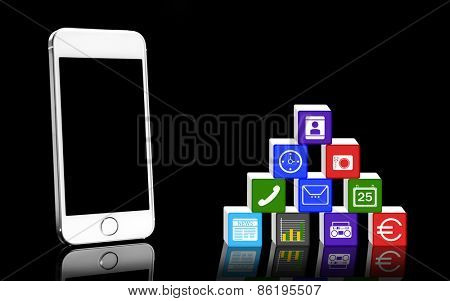Smart-phone and icons isolated on black