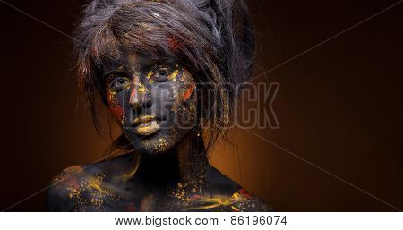 art photo of a beautiful woman with black face