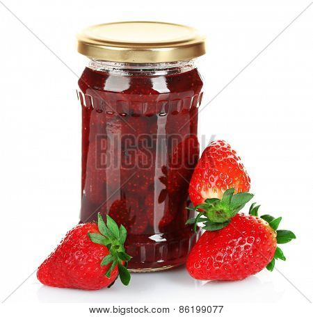 Jar of strawberry jam with berries isolated on white