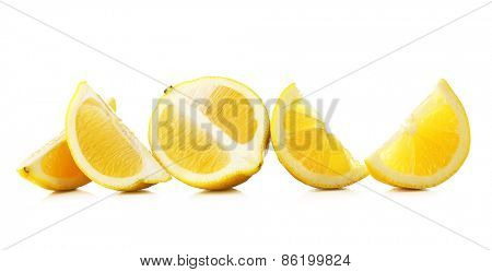 Juicy slices of lemon isolated on white