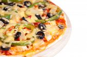image of hot fresh pizza  - Hot and tasty pizza on white background  - JPG