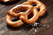 foto of pretzels  - Fresh pretzels with sea salt close - JPG