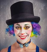 stock photo of clown face  - Portrait of a smiling clown and colorful - JPG