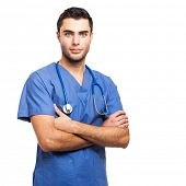stock photo of nursing  - Male nurse portrait - JPG