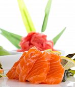 stock photo of fin  - Sashimi with ginger and wasabi over white background - JPG