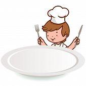 pic of chef knife  - A boy wearing a chef uniform - JPG