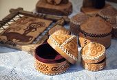 image of yurt  - Ethnic yurt house souvenir and leather pictures in the market at Nauryz celebration in Almaty Kazakhstan central Asia - JPG