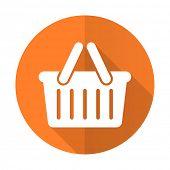 pic of cart  - cart orange flat icon shopping cart symbol  - JPG