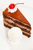 stock photo of ice-cake  - chocolate cake with ice cream - JPG