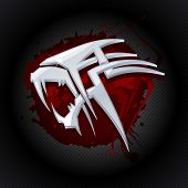 picture of jaw drop  - Steel tiger head against drop of blood art logo template - JPG
