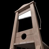 picture of beheaded  - 3d rendering of a guillotine a dead instrument - JPG