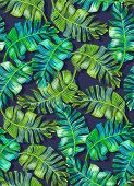 picture of brocade  - seamless tropical palm pattern - JPG