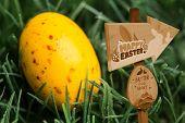 stock photo of egg-laying  - Easter egg hunt sign against yellow speckled easter egg - JPG