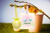 foto of stuffed animals  - happy easter graphic against stuffed chick in pink bucket - JPG